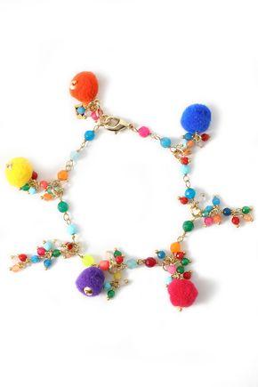 ROSANTICA Gold-tone, pompom and bead bracelet