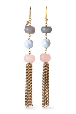 ROSANTICA Gold-tone stone tasseled earrings