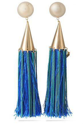 ROSANTICA Gold-tone tasseled clip earrings