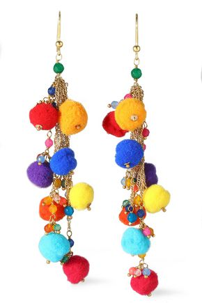 ROSANTICA Gold-tone, pompom and bead earrings