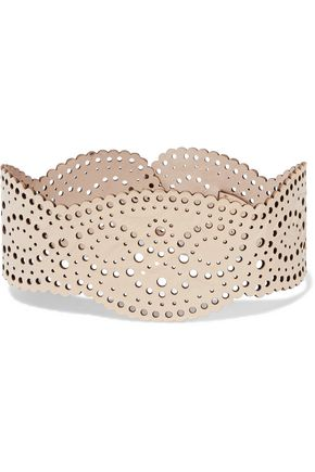 ZIMMERMANN Reversible laser-cut leather collar