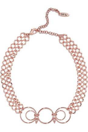 LUV AJ Eclipse rose gold-tone crystal choker