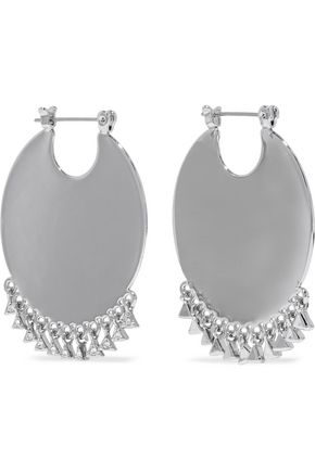 LUV AJ Dangle Disc Statement silver-tone crystal earrings