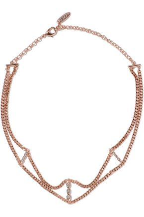LUV AJ Triple Posie rose gold-tone crystal choker