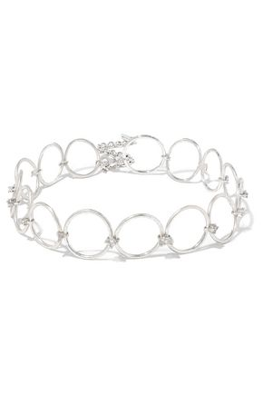 WOMAN SCATTERED GEM SILVER-TONE CRYSTAL CHOKER SILVER