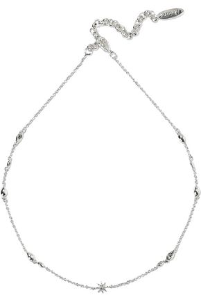LUV AJ Revel Starburst Dotted silver-tone crystal choker