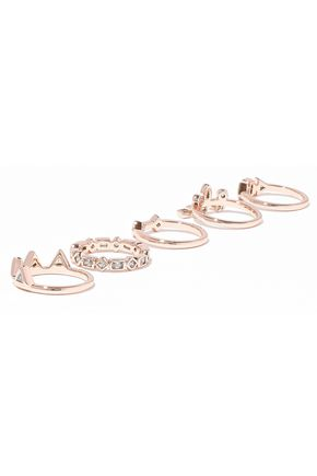 LUV AJ Medley set of five rose gold-tone crystal rings