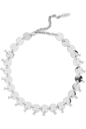 LUV AJ Dangle Disco silver-tone crystal choker