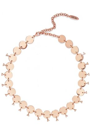 LUV AJ Dangle Disco rose gold-tone crystal choker
