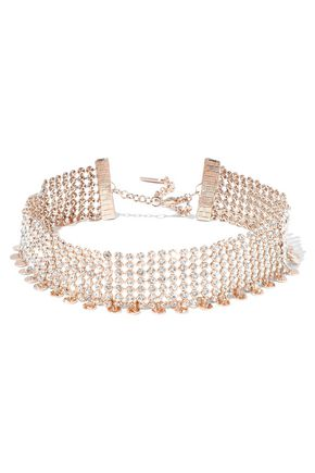 LUV AJ Disco rose gold-tone crystal choker