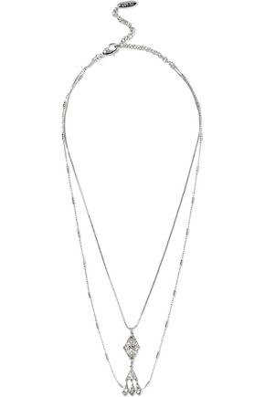 LUV AJ Hanging Pave Kite silver-tone crystal necklace
