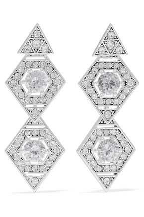 LUV AJ Silver-tone crystal earrings
