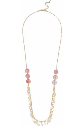 KENNETH JAY LANE Fringed gold-tone stone necklace