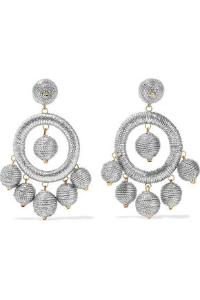 KENNETH JAY LANE Silver and gold-tone cord earrings