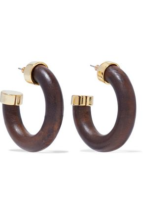 KENNETH JAY LANE Gold-tone wood hoop earrings
