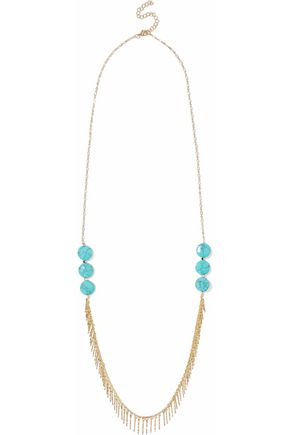 KENNETH JAY LANE Gold-tone stone necklace