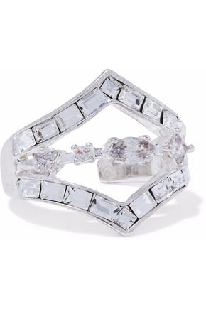 LUV AJ Silver-tone crystal ring