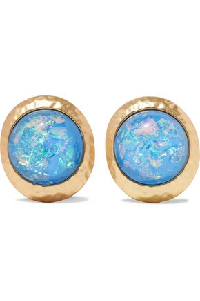 KENNETH JAY LANE Hammered gold-tone stone clip earrings