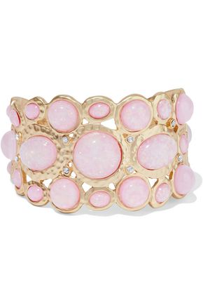KENNETH JAY LANE Hammered gold-tone stone and crystal cuff