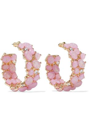KENNETH JAY LANE Gold-tone, stone and crystal hoop earrings