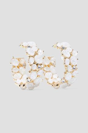 KENNETH JAY LANE Gold-tone stone and crystal hoop earrings
