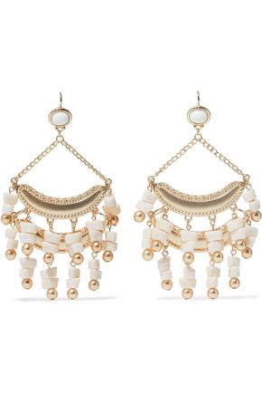 KENNETH JAY LANE Gold-tone stone beaded earrings