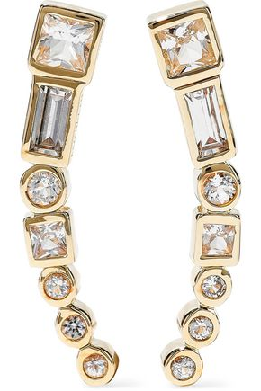 ELIZABETH AND JAMES Gold-tone crystal earrings