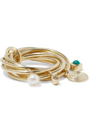 ELIZABETH AND JAMES Gold-tone, crystal, faux pearl and stone ring