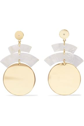 ELIZABETH AND JAMES Gold-tone resin and crystal earrings