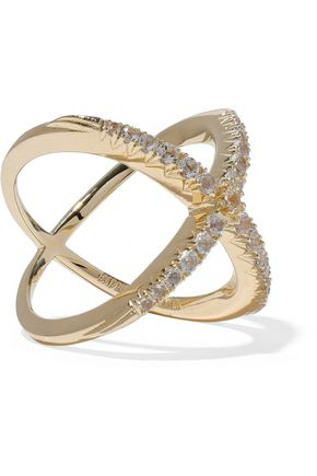 Elizabeth & James Elizabeth And James Woman Gold-tone Crystal Ring Gold Size 8 HYwoBy