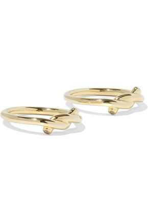 ELIZABETH AND JAMES Set of two gold-tone crystal rings