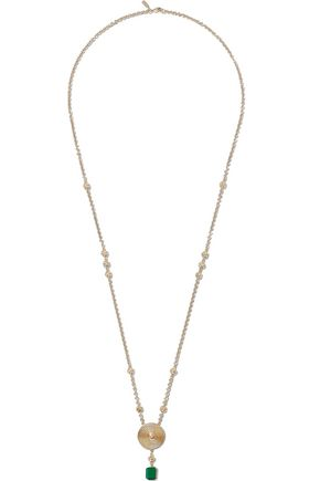 ELIZABETH AND JAMES Gold-tone, crystal and stone necklace