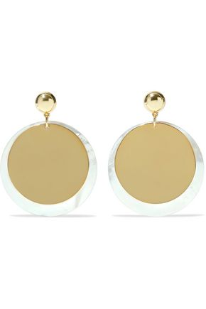 ELIZABETH AND JAMES Gold-tone iridescent resin earrings