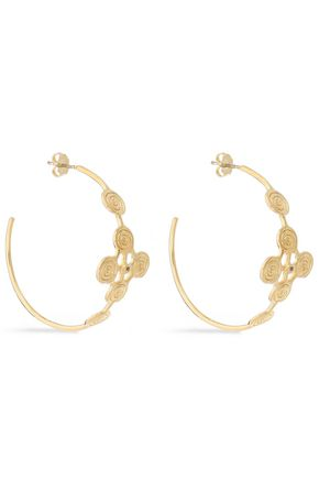 ELIZABETH AND JAMES Gold-tone crystal hoop earrings
