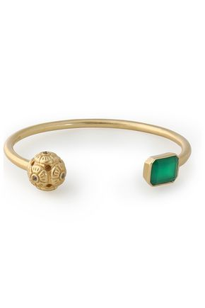 ELIZABETH AND JAMES Gold-tone, crystal and stone cuff