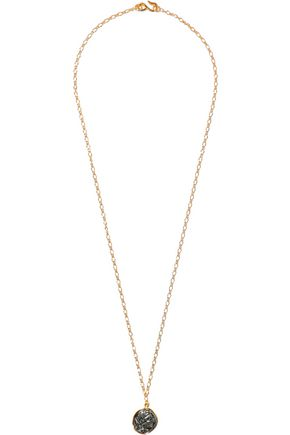 KENNETH JAY LANE Gold-tone and gunmetal-tone necklace