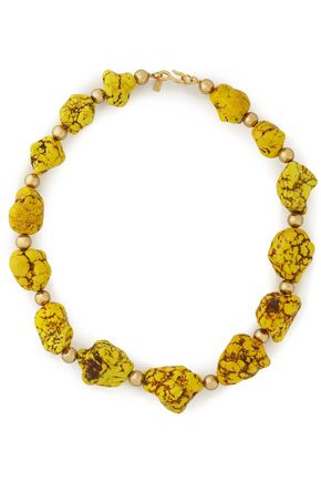 KENNETH JAY LANE Gold-tone beaded stone necklace