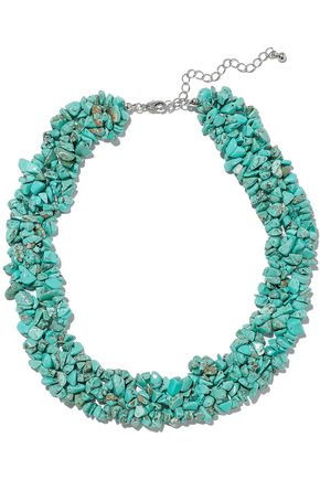KENNETH JAY LANE Silver-tone stone necklace