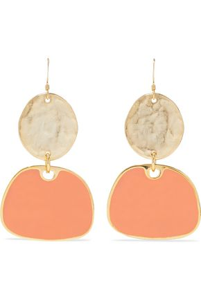 KENNETH JAY LANE Hammered gold-tone and enamel earrings
