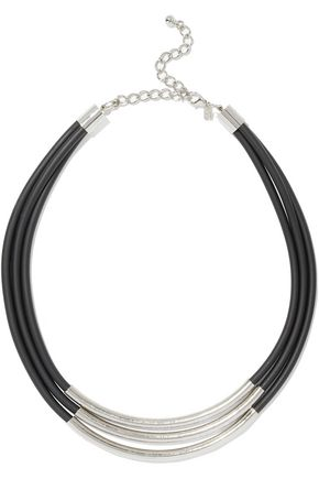 KENNETH JAY LANE Silver-tone faux leather necklace