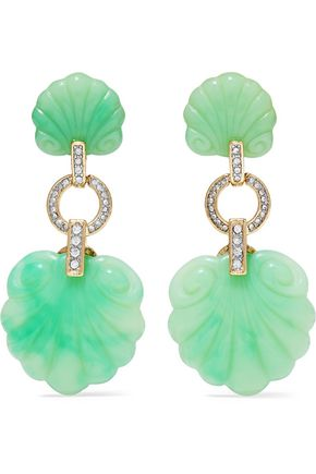 KENNETH JAY LANE Gold-tone, stone and crystal earrings