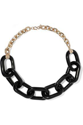 KENNETH JAY LANE Gold-tone resin chain necklace