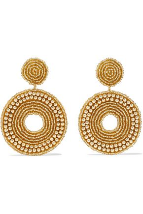 KENNETH JAY LANE Beaded gold-tone clip earrings