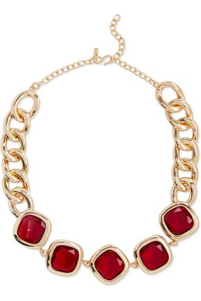 KENNETH JAY LANE Gold-tone crystal necklace