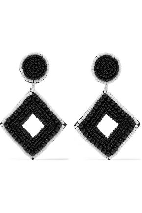 KENNETH JAY LANE Beaded silver-tone earrings