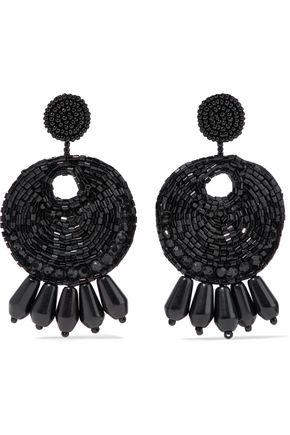 KENNETH JAY LANE Gold-tone beaded clip earrings