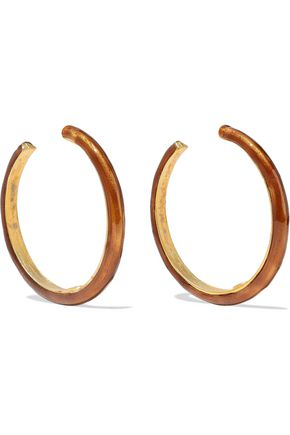 KENNETH JAY LANE Gold-tone enamel hoop earrings