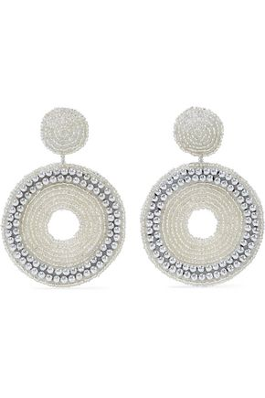 KENNETH JAY LANE Beaded silver-tone clip earrings