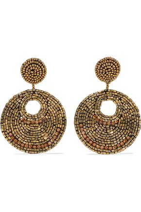 KENNETH JAY LANE Gold-tone, bead and crystal clip earrings