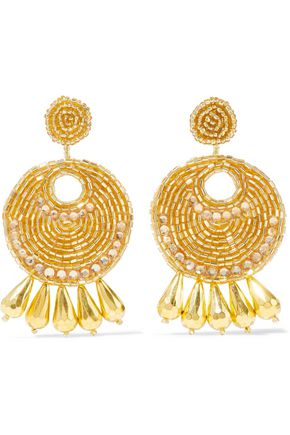 KENNETH JAY LANE Gold-tone, bead and crystal earrings